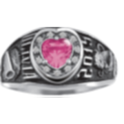 108 Keystone Girl's Personalized CZ Accent Heart Class Ring