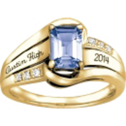 148 Girl's Emerald Cut Stone Fashion Class Ring