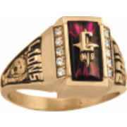 161 Keystone Girl's Crest CZ Side Panel Class Ring