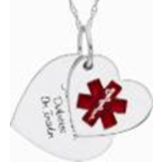 5240 Personalized Keepsake Womens Medical ID Heart Pendant
