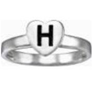 232 Heart Initial Stacking Ring