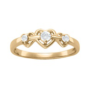 908 / 918 Triple Heart Mothers Birthstone Ring